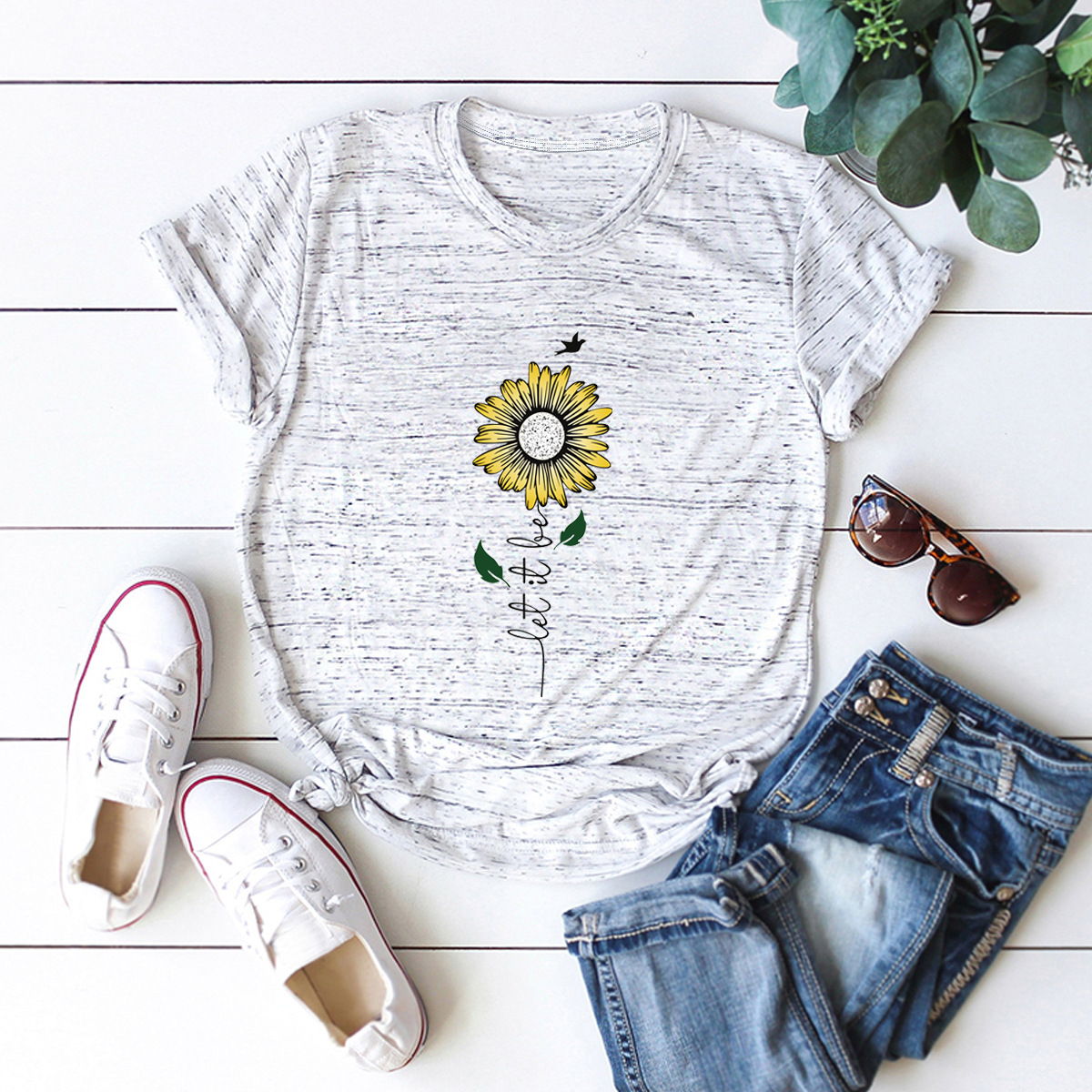 hot Slim Comfortable Casual Large Size Short Sleeve Women's T-shirt NSSN893