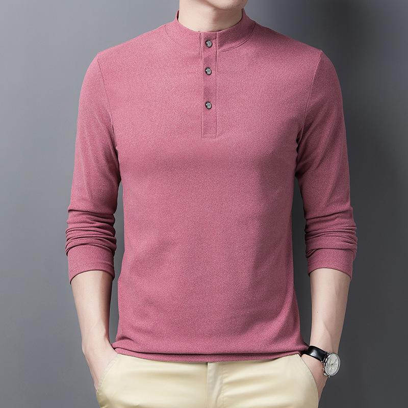 中年男士长袖T恤纯棉小衫上衣爸爸春秋装秋衣外穿立领体桖丅卫衣