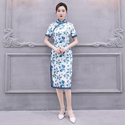 Cheongsam retro double jacquard cheongsam dress long cheongsam dress