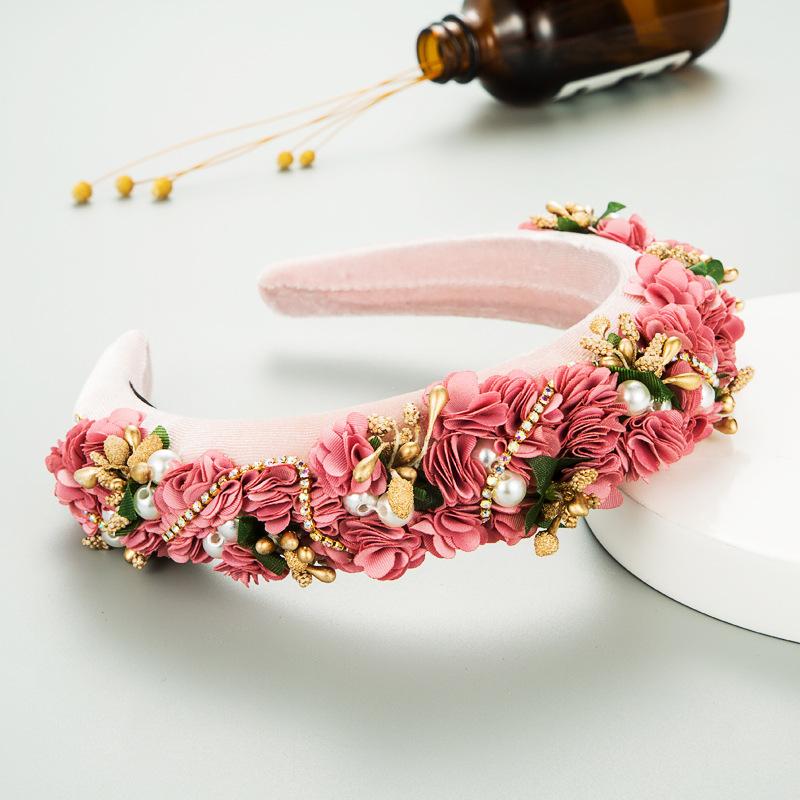 Diadema de esponja de diamantes de imitacin de perlas de novia de flores de encaje de tela de otoo e invierno NHLN266887
