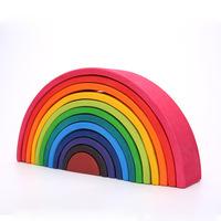 Фабрика гримм оптовая продажа деревянных игрушек детский интеллект раннего образования свая башня детские развивающие игрушки радужные строительные блоки