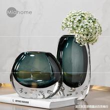 蓝色透明玻璃花瓶水晶烛台摆件北欧轻奢软装搭配陶瓷人物雕塑组合