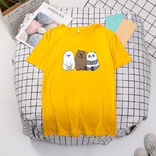 夏季短袖T恤女 熊熊卡通图案情侣装 韩版印花t恤 情侣装班服定制