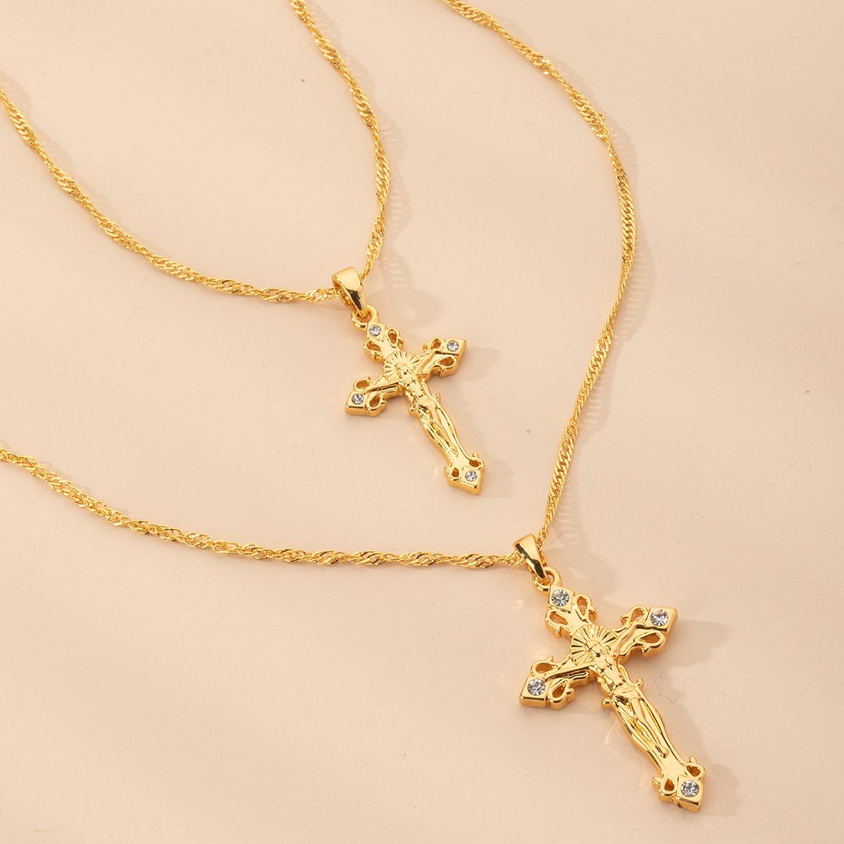 fashion simple hip-hop cross paragraph alloy Necklace   wholesale NHAI242917