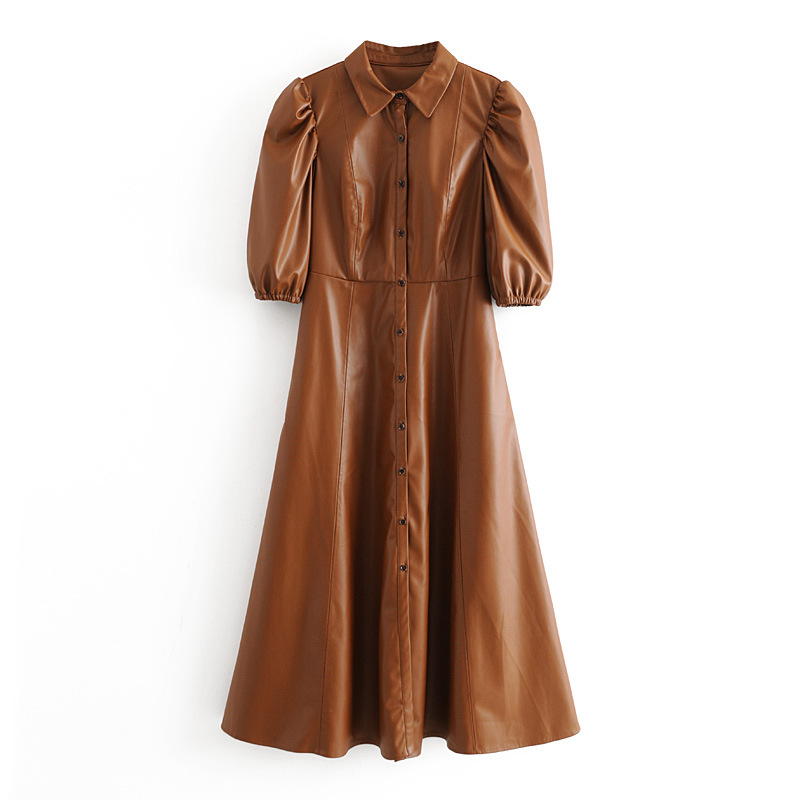 Fashion Wholesale New Retro-Breasted Long Dress Women's Faux Leather Shirt Dress NHAM200142
