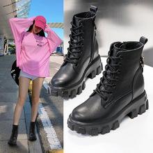内增高马丁靴女小个子34码女鞋英伦风春秋单靴小码女靴313233短靴