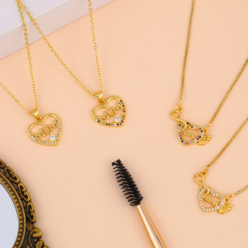 New fashion love letter mama diamond necklace mothers day gift wholesale NHAS210828