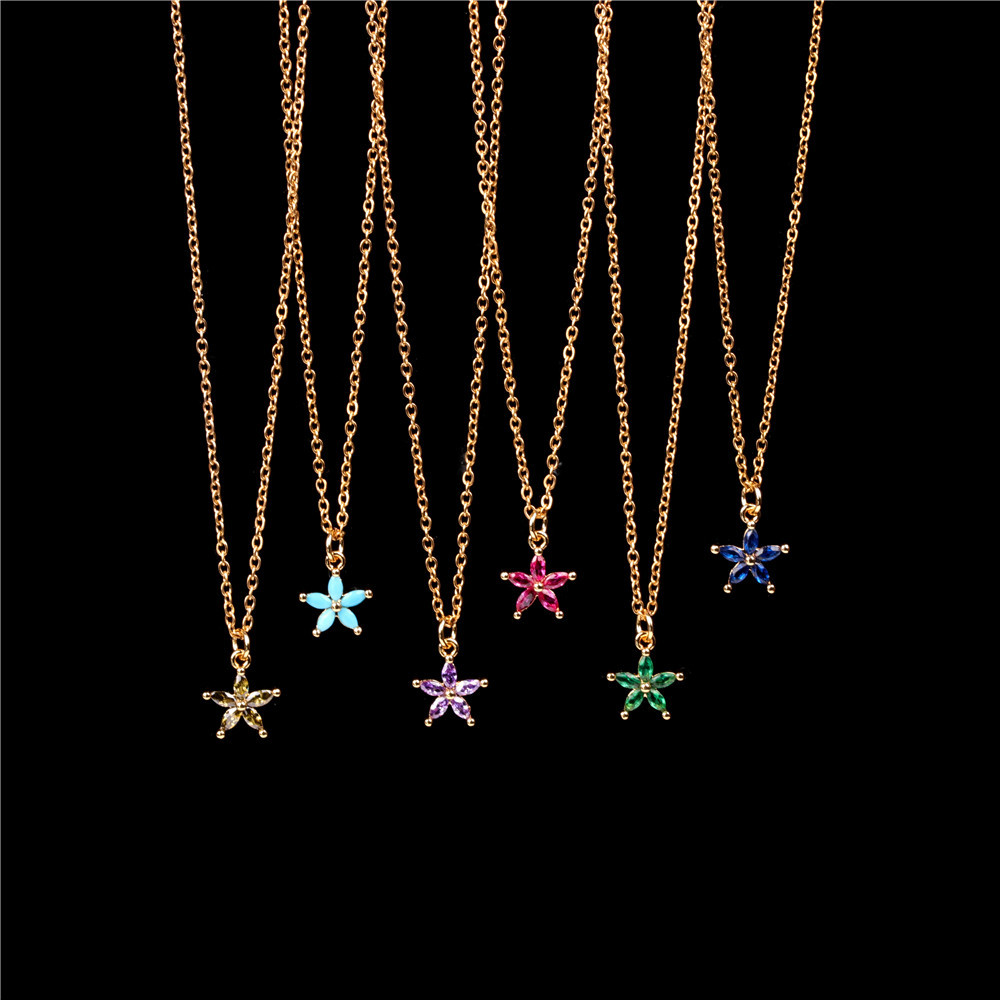 New Simple Flower Micro Inlaid Color Zircon Necklace Sweet Fresh Clavicle Chain NHPY200995