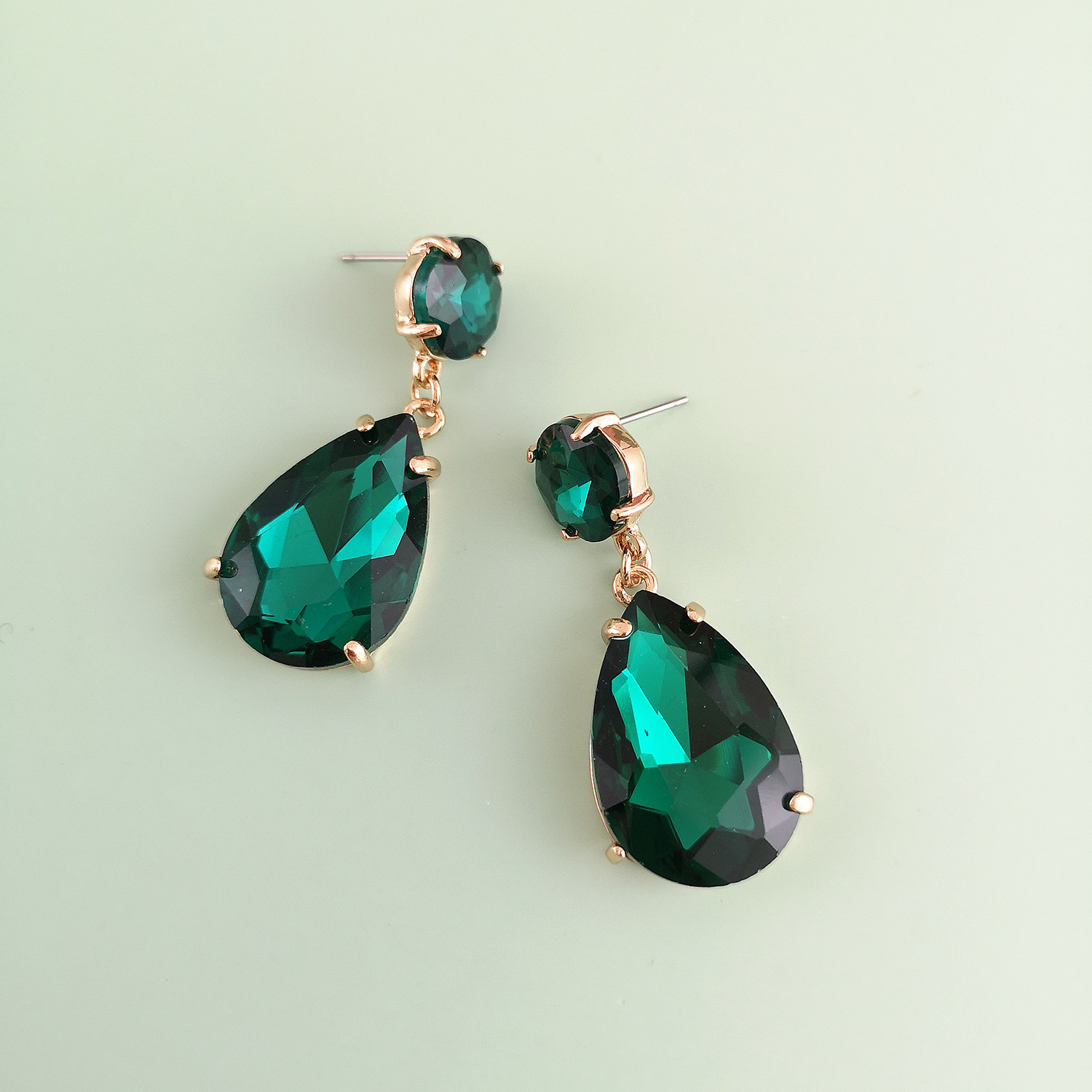 New green drop-shaped glass diamond inlaid alloy electroplating new stud earrings NHJJ212335