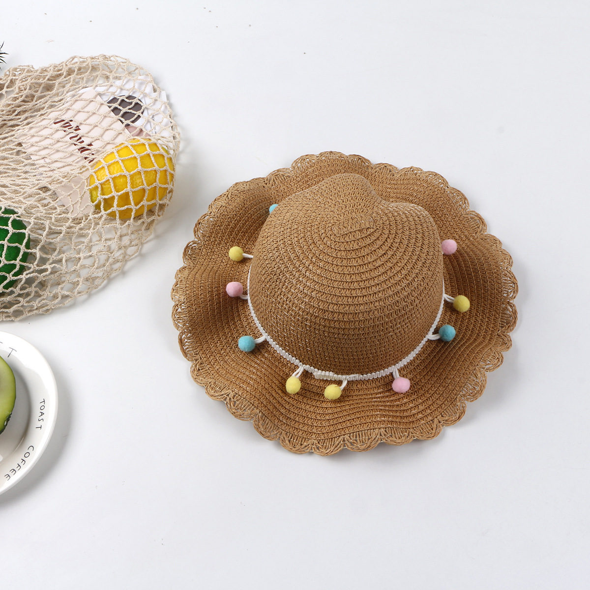 Summer new fashion hat wave edge colored straw hat female big eaves sun hat NHTQ206939