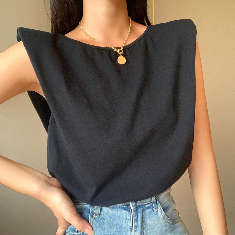 Shoulder Padded Chain Open-Back T-Shirt New Casual Comfortable And Elegant Fashion Casual Outerwear Blouse