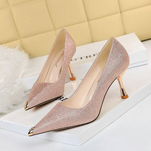 263-2 Korean fashion sexy nightclub show thin glittering Sequin high heels metal Rhinestone pointed women's single shoes