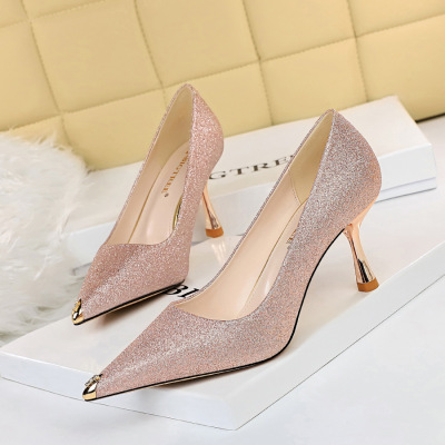 263-2 han edition fashion sexy nightclub show thin heels metal diamond shining sequins cloth pointed women's shoes