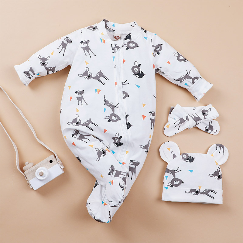 baby deer print romper with hat and scarf NHLF275100