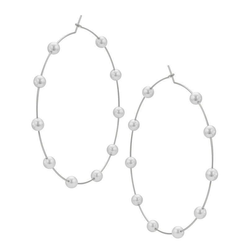 New fashion pearl large circle earrings for women wholesale NHOT210713