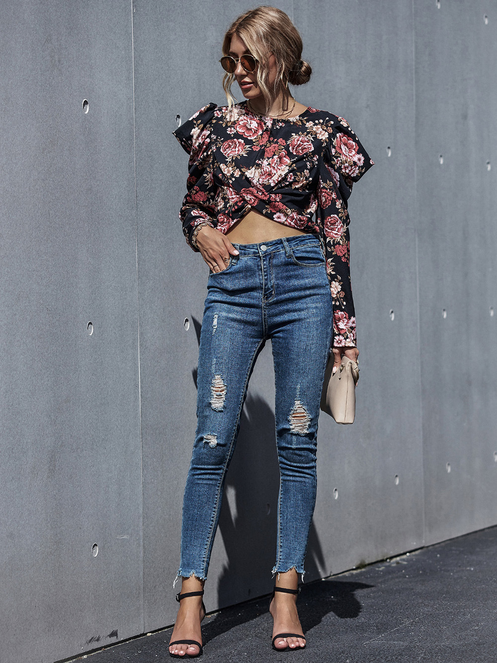 Women's Floral Chiffon Shirt Top with Puff Sleeves  NHDF100