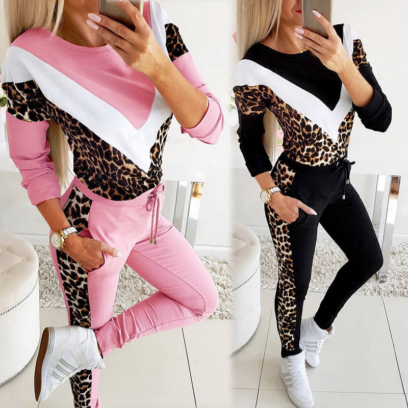 autumn new round neck V-shaped leopard print color matching sweater suit NSYF864