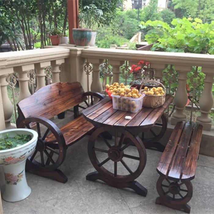 户外园艺碳化木全实木家具休闲庭院桌椅凳椭圆车轮火烧炭烧木桌椅