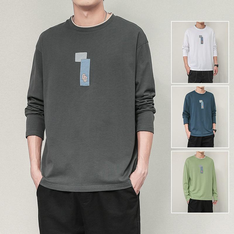 新款男士长袖T恤韩版潮流上衣圆领打底衫2020秋季休闲男装学生潮