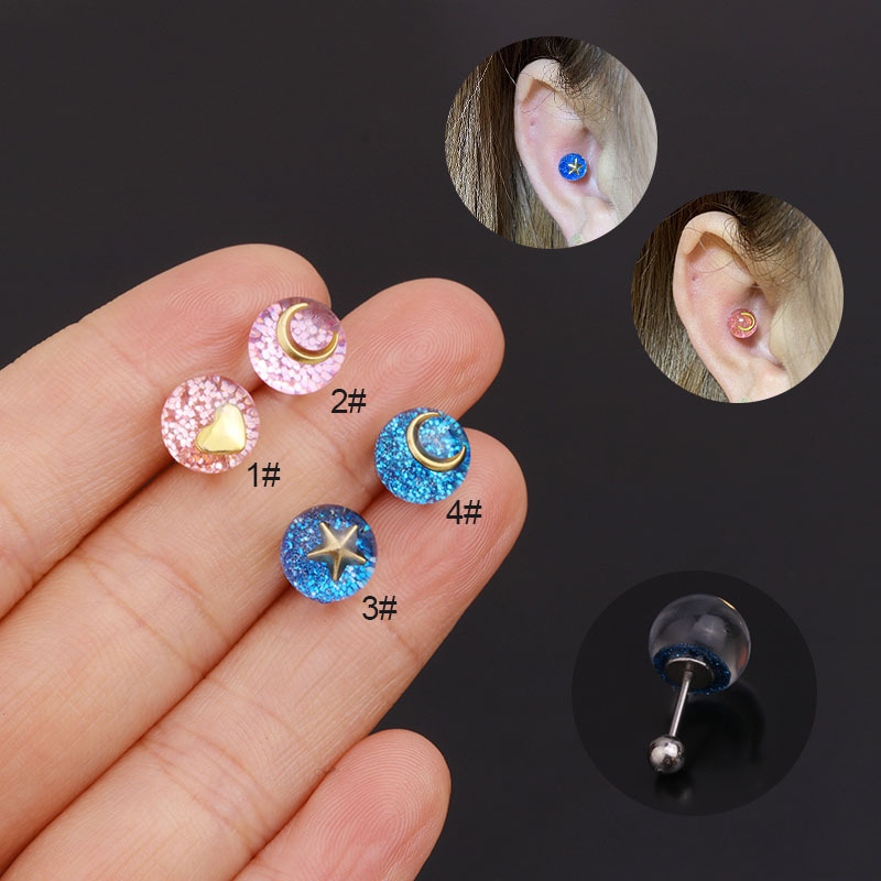 simple blue crystal stainless steel fashion earrings  NHEN283629