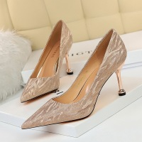 0755-A6 European and American fashion sexy banquet women's shoes thin heel high heel shallow mouth pointed Sequin women's shoes wedding shoes single shoe