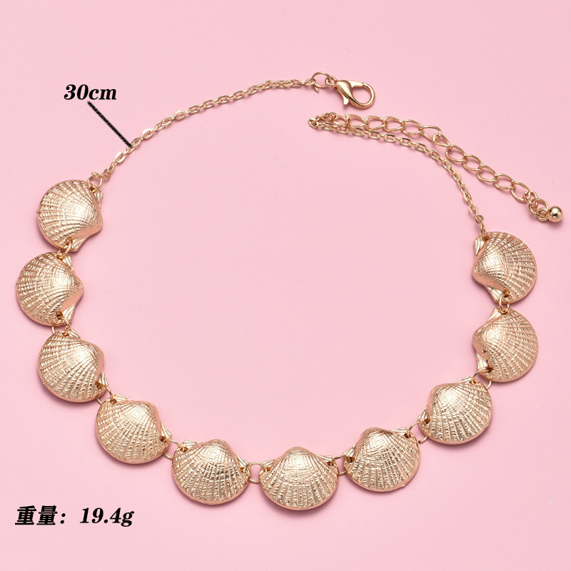 Fashion big brand new alloy shell combination necklace for women NHAJ255274