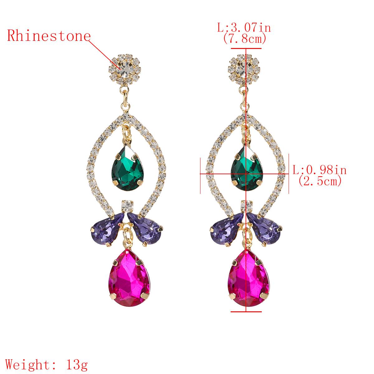 Fashion colored diamond series multi-layer rhinestones and diamond earrings geometric earrings super flash full diamond earrings wholesale nihaojewelry NHJE224510