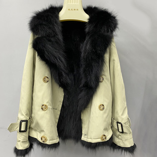 Pai overcome women's 2020 autumn and winter new short raccoon fur liner fur coat women's coat with both sides without disassembly
