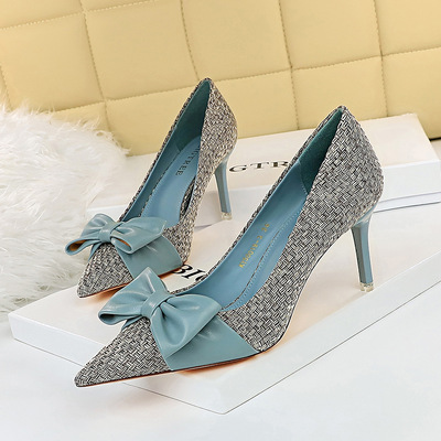 Han edition fashion high heels sweet weave shoes 50019-3 shallow mouth pointed high color matching bow documentary shoes