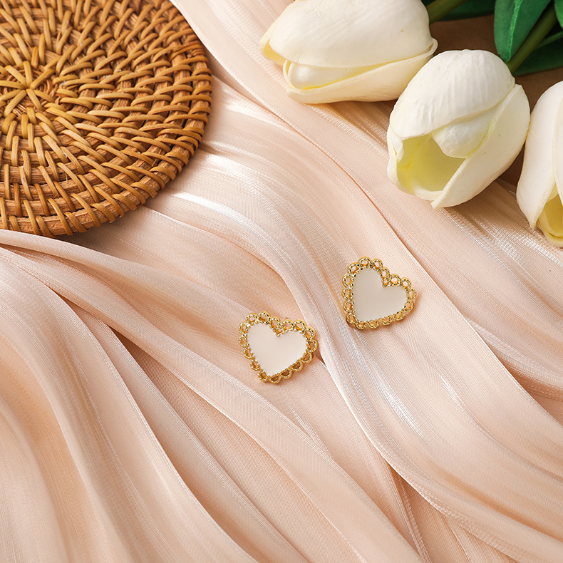 gold edging embellished earrings NHMS277365