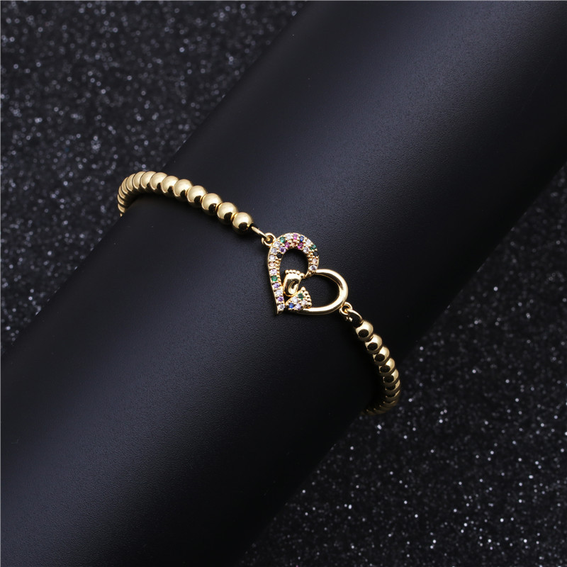 Fashion Micro Inlaid Zircon Heart Foot Bracelet Copper Bead Woven Beaded Bracelet NHYL199490