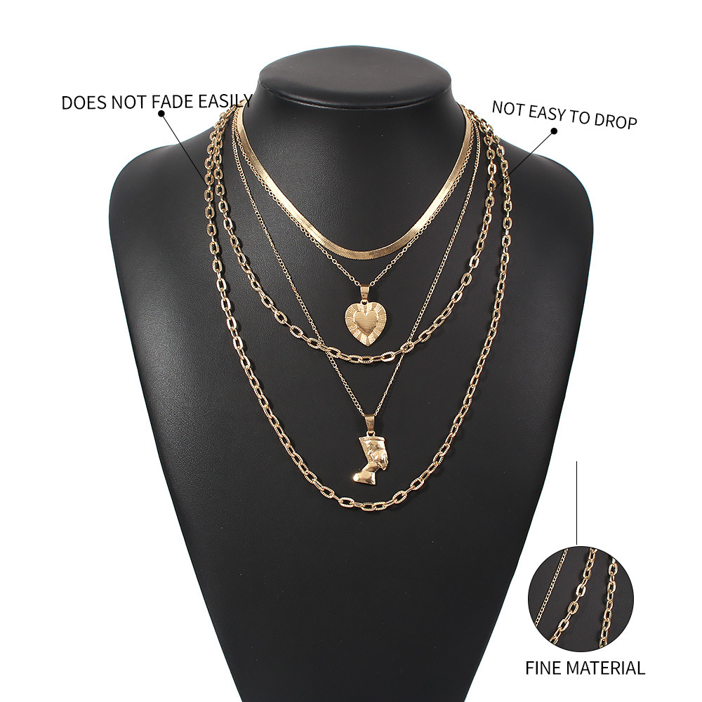 Fashion Love-shaped Irregular Trend Multilayer alloy women's Clavicle Chain Necklace Wholesale NHMD246190