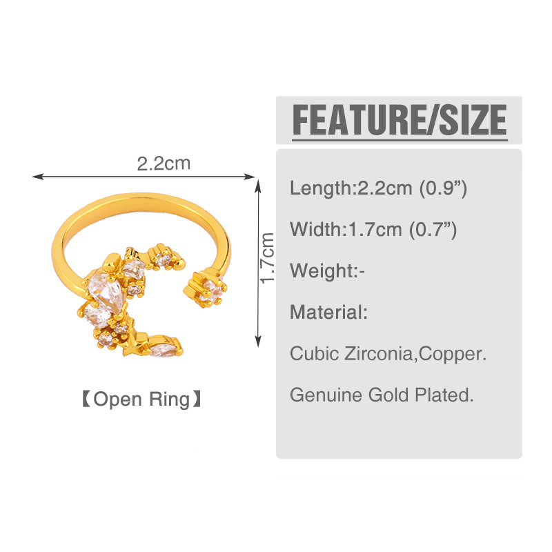fashion new simple  bohemian ring creative design  copper moon star ring micro-set zircon ring nihaojewelry wholesale NHAS222711