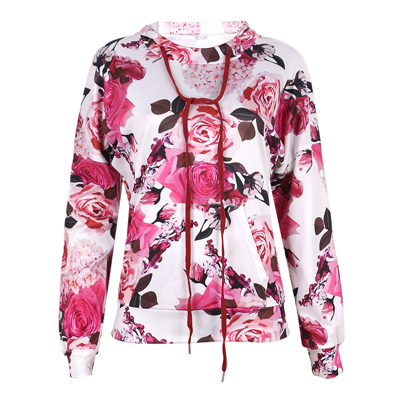 women's autumn and winter new hot style tie-dye printing hooded lace-up long-sleeved sweater NSKX5818