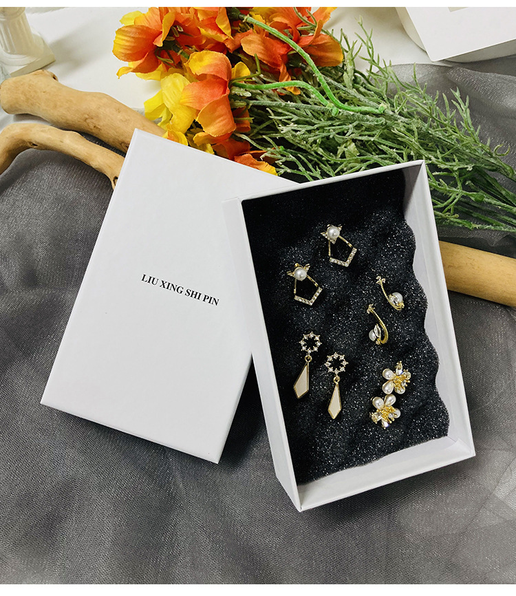 fashion simple necklace earring storage gift box hot sale jewelry packaging box NHWF252711