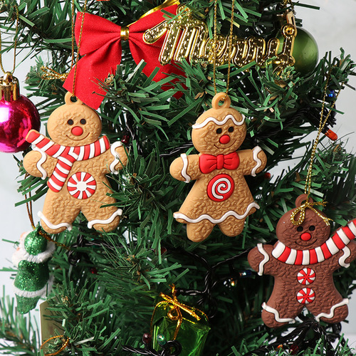 2sets  Gingerbread Man Christmas Tree Ornament pendant for xmas home decoration