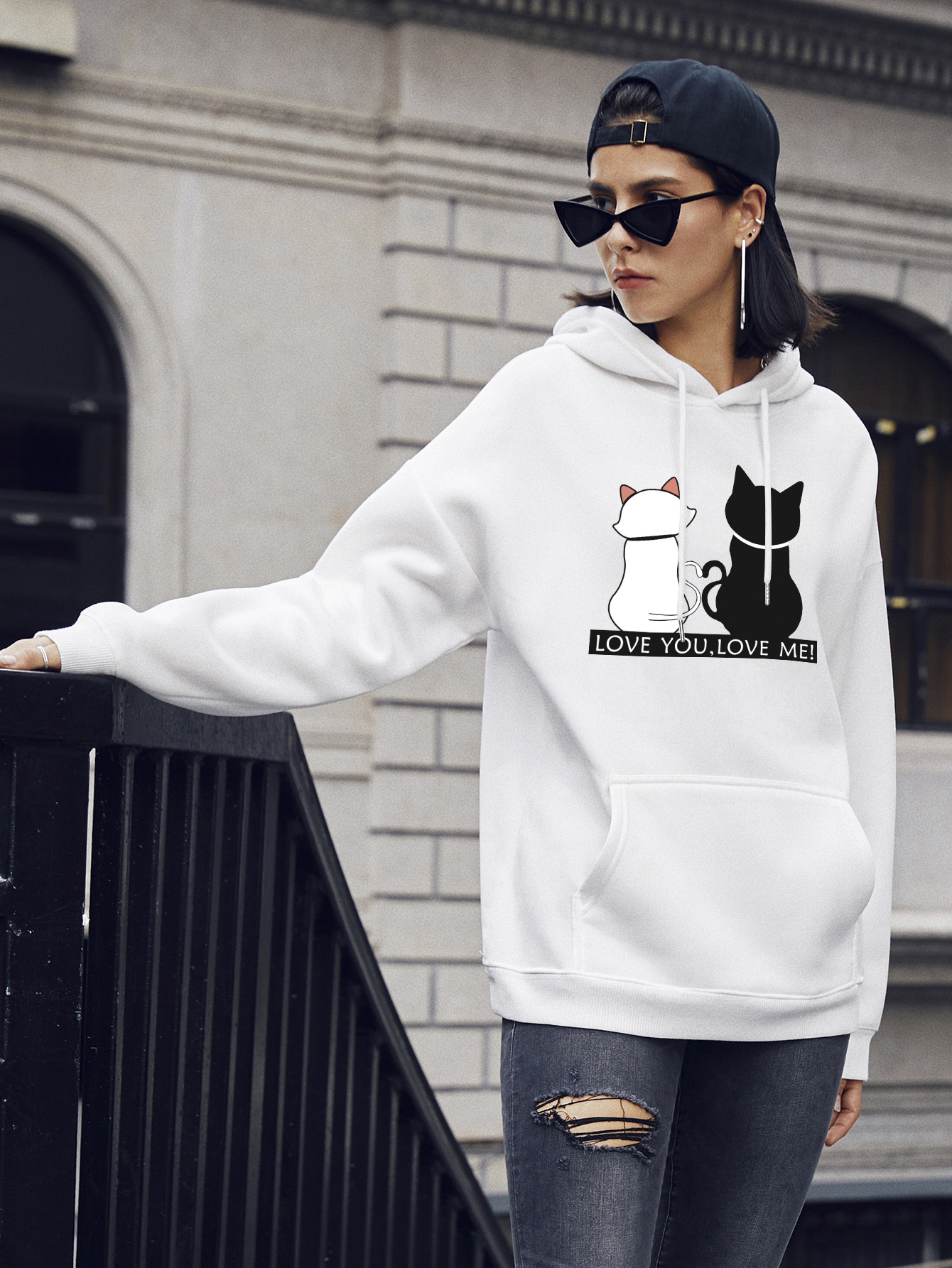 autumn and winter women's street casual hooded sweater cute cat NSSN1875