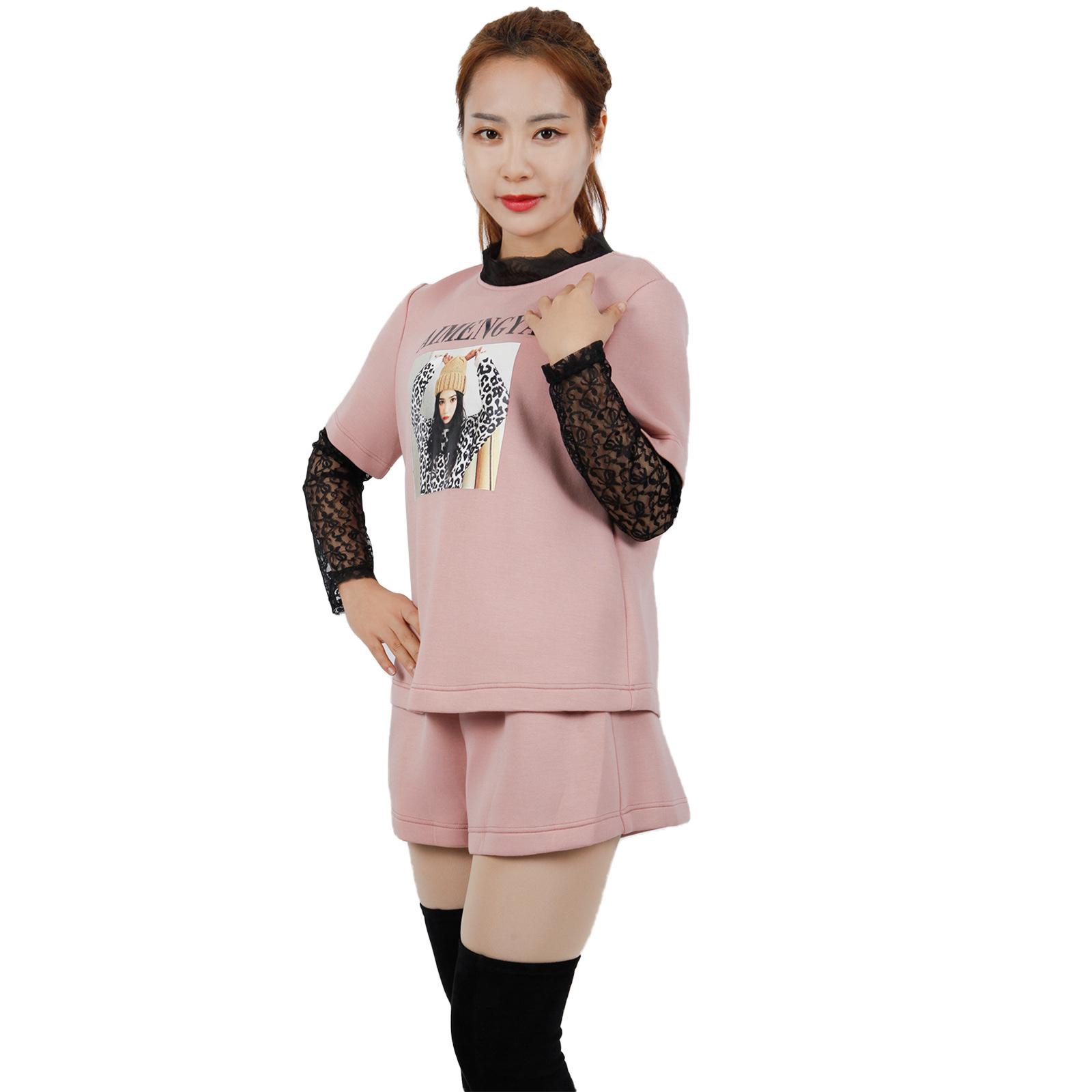 2020秋季撤柜女装韩版简约休闲空气棉两件卫衣A版短裤两件套套装