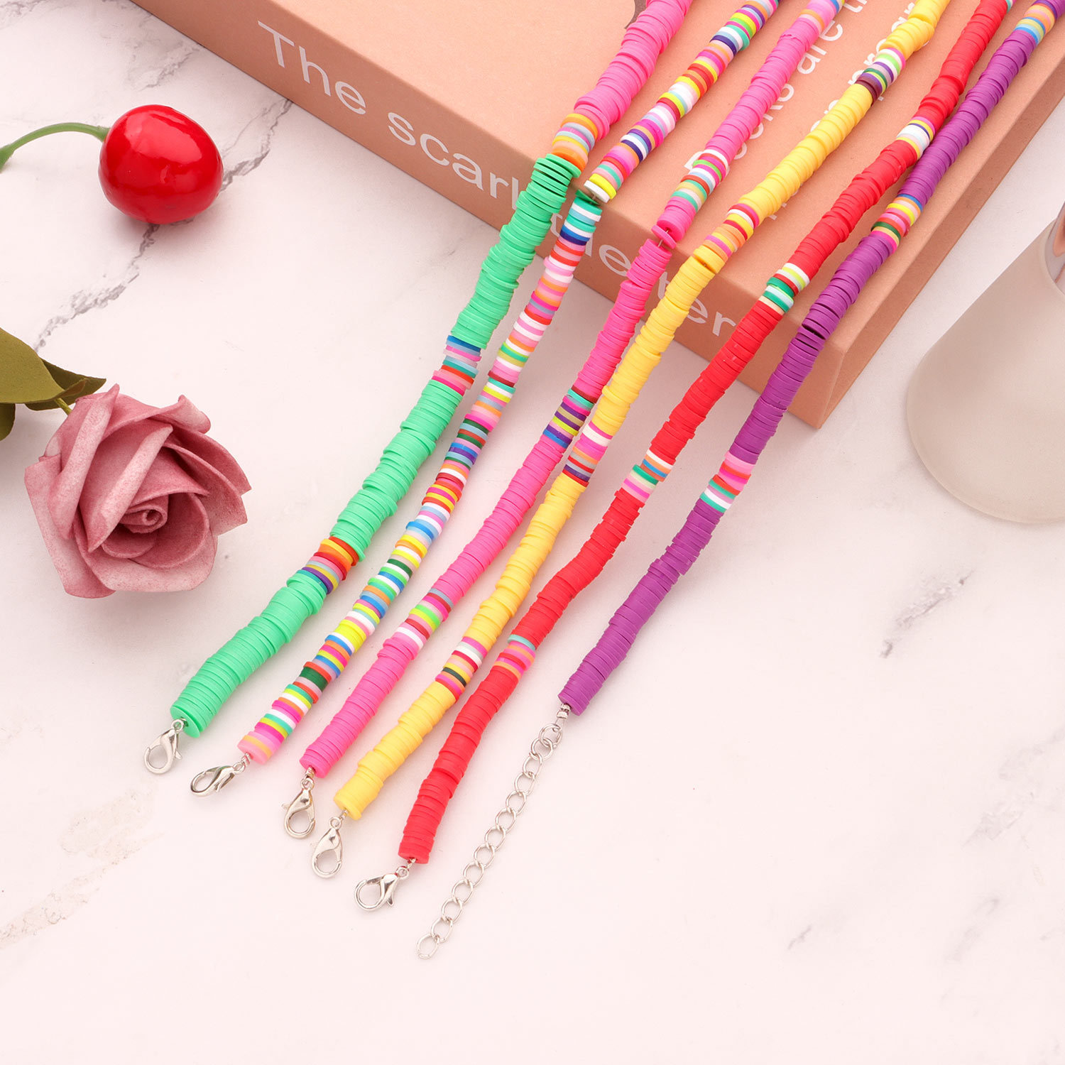 fashion casual style colored soft ceramic choker necklace fashion 6mm disc necklace wholesale nihaojewelry NHLL236141