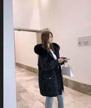 派克羽绒服女中长款2020冬新款大毛领收腰显瘦时尚白鸭绒格子外套