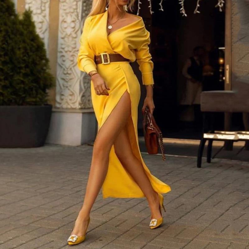 秋冬时尚女装直贡尼性感礼服女2020新款修身百搭包臀开叉连衣裙潮