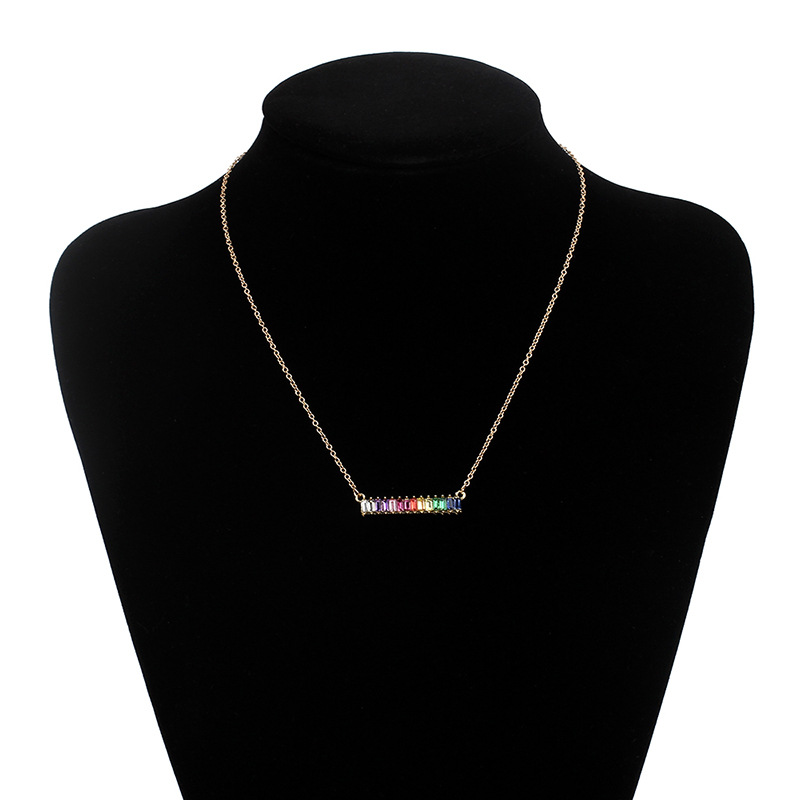 Rainbow Bracelet Necklace Lady Diamond Jewelry Set Exquisite Necklace Retro choker Clavicle Chain wholesale nihaojewelry NHRN238357