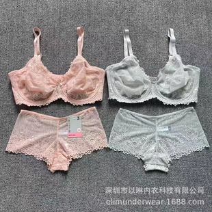 Outer single two-color lace thin bottom steel ring suit Lace bra sets w/o padded