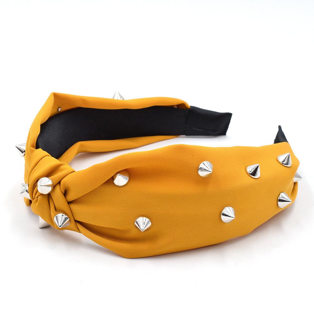 New punk rivet headband fabric fashion headband willow nails wide brim exaggerated headwear  NHCL247469