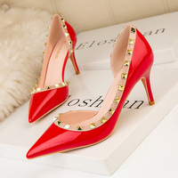 Han edition fashion - 43 V 899 rivet thin heels show thin shallow mouth pointed sexy side hollow out women's shoes