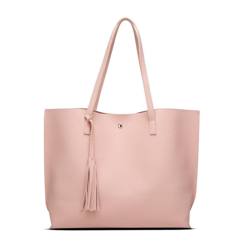 跨境女包2019新款欧美流苏单肩包手提大容量托特包购物袋一件代发