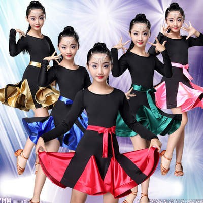 Children  black pink blue Latin dresses long sleeve dance skirts class training competition grading latin dance performance clothes