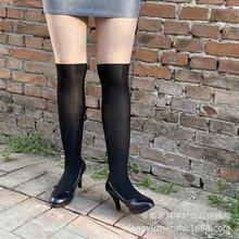 爆款天鵝絨襪子批發假大腿假高筒過膝拼接連褲襪網紅款黑加膚外單