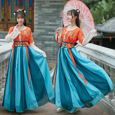 Chinese qing tang ming Hanfu national embroidery pleated skirt waist level stage performance dress