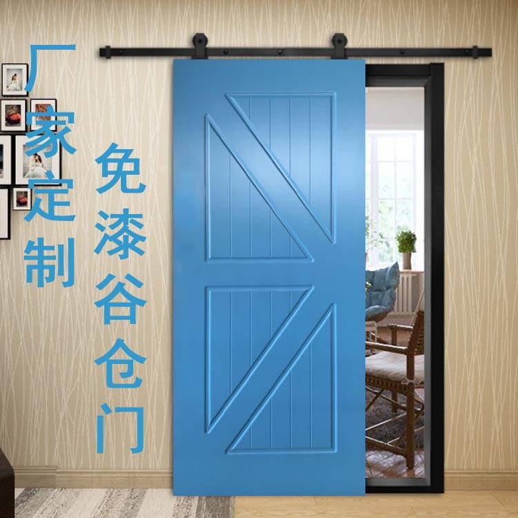 江山廠家直供美式實木復合PVC免漆谷倉門衣帽間移門廚房吊軌木門